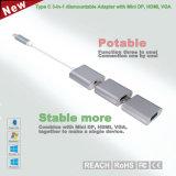 小型Dp 4k@30Hz、HDMI 4k@30HzおよびVGA 2k@30Hzが付いているアルミ合金Dismountable 3部分のへのUSBのタイプCアダプターの