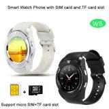 Téléphone intelligent de montre de plein écran rond avec la fente de carte SIM et l'appareil-photo (W8)