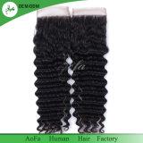 Pelo humano del 100% todo el encierro suizo Mano-Atado del cordón del pelo brasileño