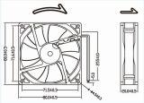 작은 12V DC 팬 80mm 8020 80X80X20mm 무브러시 DC 냉각팬