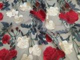 2017 Qualitäts-doppelte Farben-Rosen-Form-Stickerei-Spitze für Kleid-Dekoration