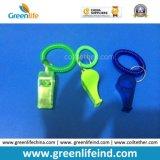 El Wristband plástico azul de las ventas populares enrolló el silbido impreso aduana del sostenedor