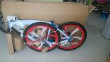 La bicyclette avec la roue de magnétique et le réservoir de gaz a établi le bâti