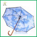 주문 로고는 중국에 있는 2개의 층 나무로 되는 손잡이 지팡이 폴란드 하늘 우산 공급자를 인쇄했다