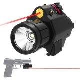 2 dans 1 lampe-torche tactique du CREE Q5 DEL combo rouge de vue de laser de 200 lumens avec le support compact de longeron pour le pistolet de pistolets