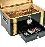 De houten Sigaar Humidor - Desktop 150 Hoge Telling - polijst Piano eindigt