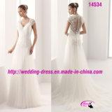 Платье Tulle тонкого шнурка V-Neckline Bridal с втулкой крышки