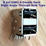 8 Verbinder-Doppelt-Plattform-rechtwinkliger durchgehender Loch-Typ Pin-USB2.0