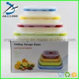 Rectángulo de almuerzo determinado plegable del contenedor de almacenaje del silicón