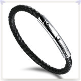 De Armband van het Leer van de Juwelen van het Roestvrij staal van de Juwelen van het leer (LB059)