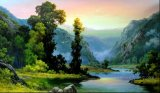 Pintura al óleo casera del paisaje de las colinas de la decoración