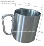 Camping Traveling Coffee Mug avec Carabiner, 220ml en acier inoxydable Coffee Carabiner Cup, portable rouge, argent ou autre couleur