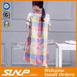 Frauen-Form-Leinenbaumwolhalbes Hülsen-Hemd-Kleid