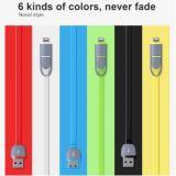 2 en 1 cable plano del USB del micr3ofono para el iPhone 6 y el androide