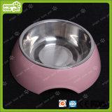 De Kom van de Melamine van het Ontwerp van de manier met de Kom van de Hond van het Roestvrij staal (hn-PB939)