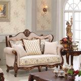 Sofà classico del tessuto dello strato di amore della presidenza classica antica della sede impostato con il blocco per grafici di legno per il salone