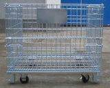 Recipiente dobrável do engranzamento do armazenamento com os rodízios para o uso do armazém