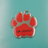 Kundenspezifisches Metal Glitter Enamel Pet Tag mit Paw (A1-08)