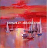 Canvas에 예술 Supplies Abstract Wall Art Seascapes Sea와 Boat Oil Painting Painted Canvas Moder Abstract Sunset Oil Painting