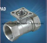 Robinet à tournant sphérique de l'acier inoxydable 2PC avec la garniture d'OIN