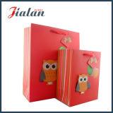 赤い3Dフクロウの漫画の動物デザインによって印刷されるカスタム紙袋