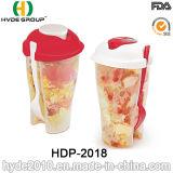 Относящая к окружающей среде выдвиженческая пластичная чашка трасучки салата с вилкой (HDP-2018)