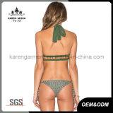 Swimwear девушок Halter высокой Striped шеей связанный