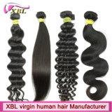 Extensões peruanas do cabelo humano da venda por atacado do preço de fábrica do cabelo do Virgin
