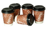 Custom descartável Logo Double Wall Take Away Coffee Paper Cup com Lid