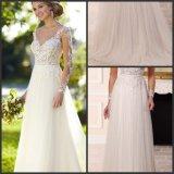 Alineada de boda formal nupcial de princesa Tulle de los vestidos del corsé del cordón de las fundas S201737