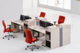 Open Office Cubicle 4 Seat Workstation in Wooden Finished