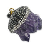 Hot fou Amethyst Crystal Druzy Gemstone pour Necklace