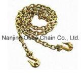Chaîne de tige en acier d'Electranizing de fer jaune de zinc avec des crochets