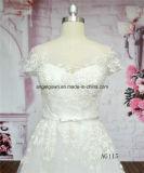 AG115帽子はフランスのレースの花嫁のウェディングドレスにスリーブを付ける