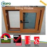 Guichet de glissement de double vitrage de PVC avec la couleur en bois