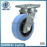 """De """" roda rígida de nylon azul do rodízio do núcleo ferro 8"""