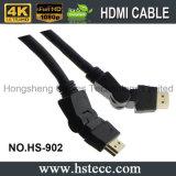 Alta definizione 360 gradi che girano il cavo di HDMI