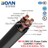Mv-90, Epr Insulated Power Cable, 8 Kv, 3/C, Cu/Epr/Cts/PVC (ICEA s-93-639/NEMA WC71/UL 1072)