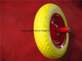 HochleistungsWheelbarrow 3.50-8 Yellow PU Wheels mit Metal Rim