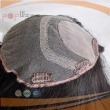 Toupee del pelo humano, clip en pedazo superior de seda kosher judío del pelo de los primeros