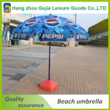 Zoll, der fördernden Strand-Regenschirm mit Firmenzeichen bekanntmacht