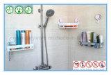 Angolo della stanza da bagno con la rastrelliera per sciampo