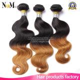 Pelo humano barato 4 manojos de 100g del pelo brasileño de los manojos un día que expide la armadura del pelo humano de dos tonos