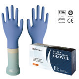 Nitril-Prüfung-geben blaues Handschuh-Puder, Weiche frei (NGBL-PFS3.5)