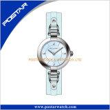 Relógio luxuoso excelente do aço inoxidável de versão simples com couro genuíno