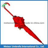 Red Stick Flower Lace Board Auto Open Ladies Umbrella