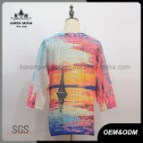 Chandail de mode de chemise de Madame Sunset Sailboat Pattern 3/4