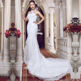 2016 Halter Lace Real Photos Mermaid Wedding Dresses (TM-MS007)