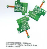 PWB de la tarjeta de circuitos impresos Four-Layer del tablero suave y duro del oro de la inmersión, grueso: 1.6m m