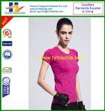 T-shirt da luva do Short da compressão do Bodybuilding da aptidão da ginástica de mulheres